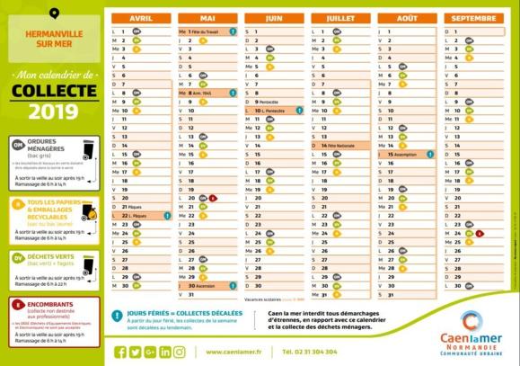 Calendrier Eboueur 2020.Calendrier Collecte Des Dechets 2019 2020