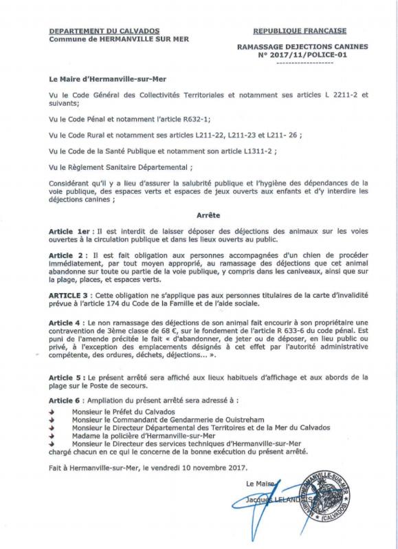 Arrêté municipal n°2017/11/POLICE-01 - Ramassage des déjections canines