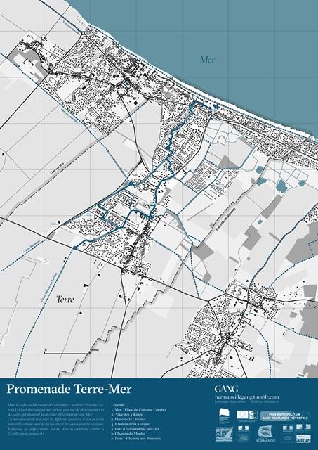 """Carte de la promenade """"Terre-mer"""" par les architectes de GANG"""