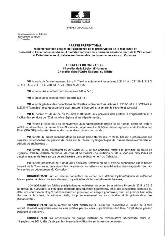 Alerte renforcée sécheresse : les mesures de restriction d'eau dans le Calvados