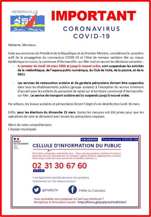 IMPORTANT CORONAVIRUS COVID-19