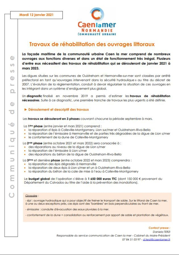Caen la mer : Travaux de réhabilitation des ouvrages littoraux