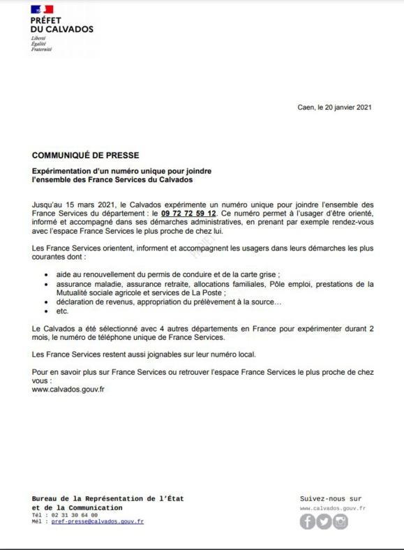 Expérimentation d'un numéro unique France Services