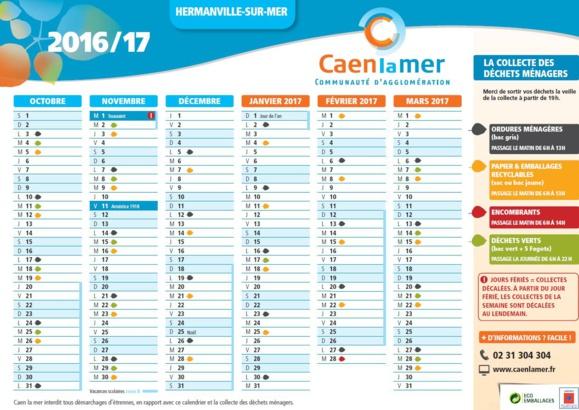 Le calendrier de la collecte des déchets 2016 /2017 est en ligne