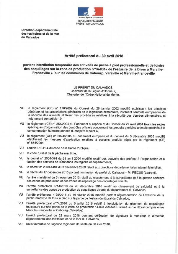 Réglementation pêche à pied : Arrêté préfectoral du 30 avril 2018