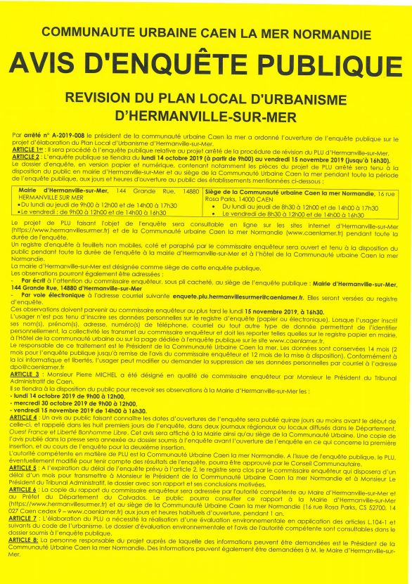 REVISION PLAN LOCAL D'URBANISME - AVIS D'ENQUETE PUBLIQUE