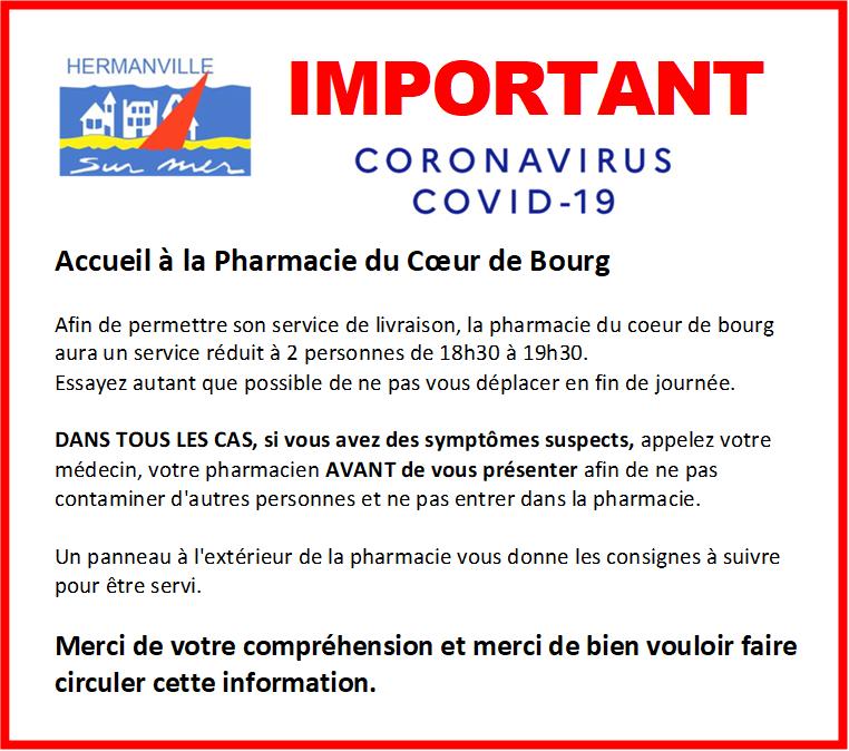 COVID-19 - Avis de la pharmacie Coeur de Bourg