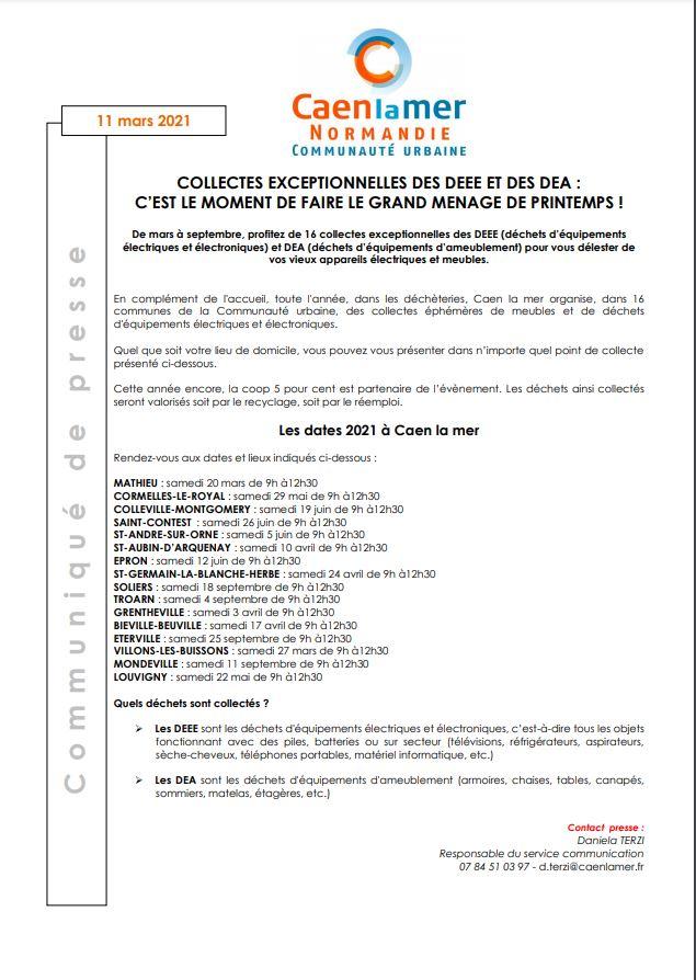 Collectes exceptionnelles des DEEE et DEA - Les dates 2021 à Caen la Mer